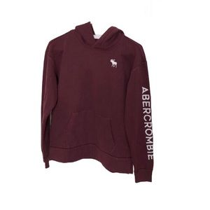 Abercrombie Kids burgundy embroidered hoodie